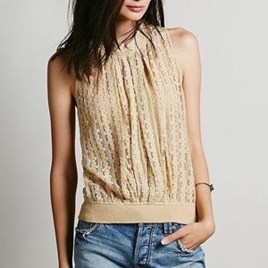 Free People One Sheer Lace Halter A18